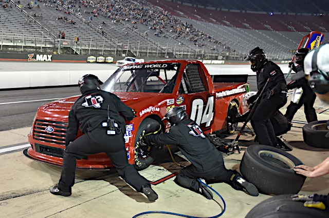 Pit stop action at Bristol.