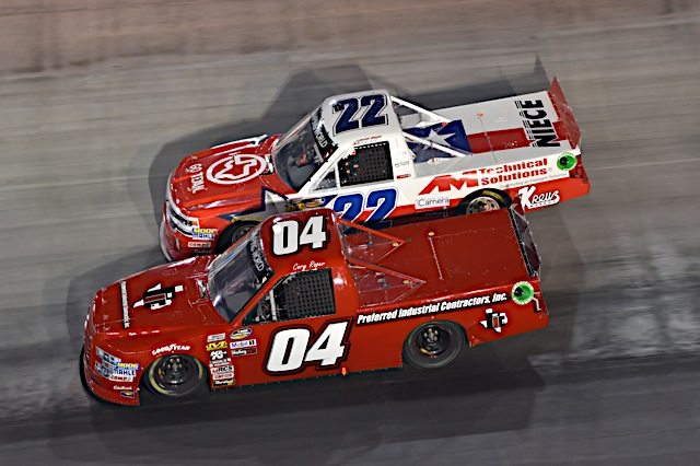 Cory Roper races Austin Wayne Self at Bristol Motor Speedway.