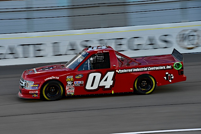The No. 04 Preferred Industrial Contractors, Inc. Ford F-150 in action at Las Vegas Motor Speedway.