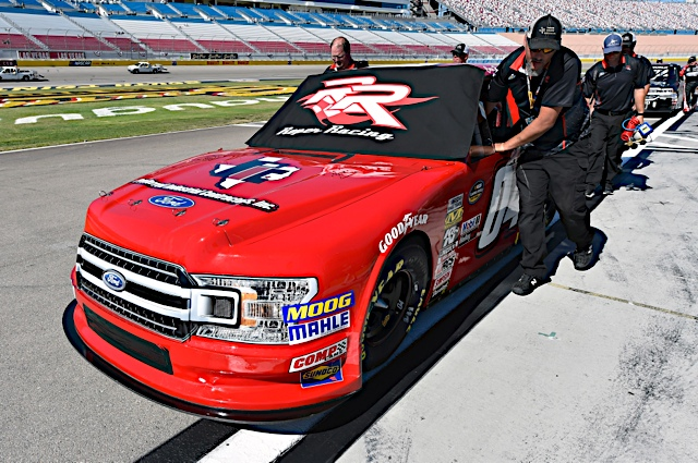 The No. 04 Preferred Industrial Contractors, Inc. Ford F-150 team prepares to qualify at Las Vegas Motor Speedway.